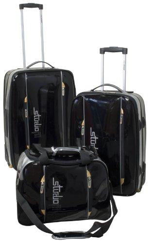 Trolley-Reise-Set *3-tlg.*2 Trolleys*1 Reisetasche*Schwarz*glänzende