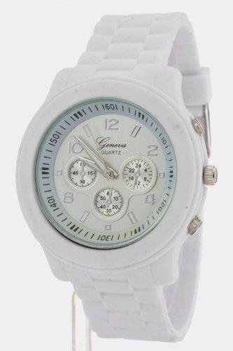 Trendy Fashion Jewelry Jelly Strap Sports Watch By Fashion Destination | (White/Silver)