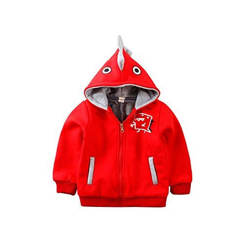 Mud Kingdom Toddler Boys' 3D Dinosaur Costume Hoodies for Winter 3T Red (Red Dinosaur Costume)