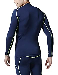 CLSL TM-R11-NVCZ_Large j-XL Tesla Men's Cool Dry Compression Baselayer Long Sleeve Baselayer T Shirts R11