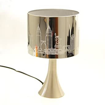 Table bedside touch lamp shade white london new york paris city design lighting - Touch lamps for bedside table ...