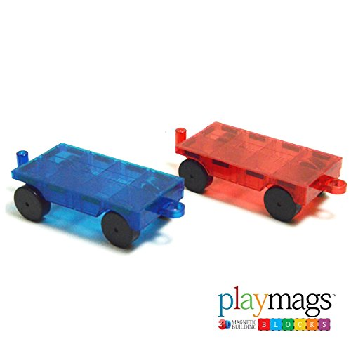 Playmags 2 Piece Car Set - Compatible with All Magnetic Tiles-Colors May Vary