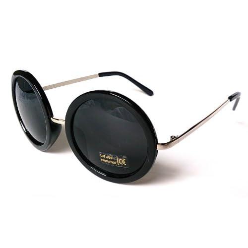 ラウンド型 レディース ファッション サングラス ビッグフレーム レトロデザイン UV400 丸レンズ 丸フレーム 丸型 (ブラック)