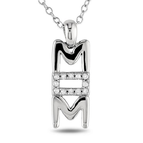 Sterling Silver 0.06ct TDW Diamond Fashion Pendant (G-H, I1-I2) (18in)