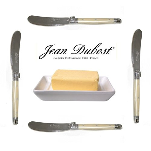 "French Laguiole - Set Of 4 Butter Knives/Spreaders - Pearl (Original Jean Dubost - 6"" - Quality Family Dinner Color Table Flatware/Cutlery Setting - Manufactured In France - Stainless Steel Lemmet - Direct From France)"
