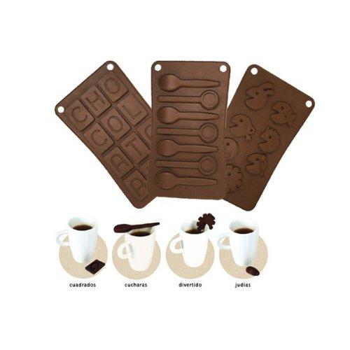 CMP KP5068 Ligne Café Gourmand Moule à Chocolat Silicone Marron 21 x 11 x 2 cm 4 Pièces