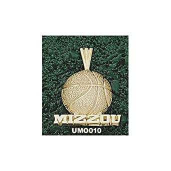Missouri Tigers Mizzou Basketball Pendant - 14KT Gold Jewelry by Logo Art