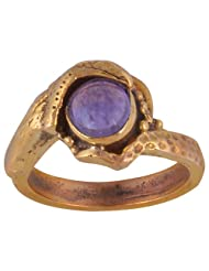Metal Ring With Natural Amethyst Stone