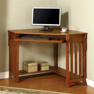 Perfect Toledo Corner Desk w keyboard Console in Oak Finish