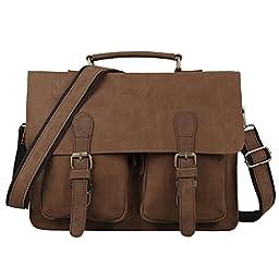 14.37'' Vintage Real Leather Messenger Bag for Laptop Satchel