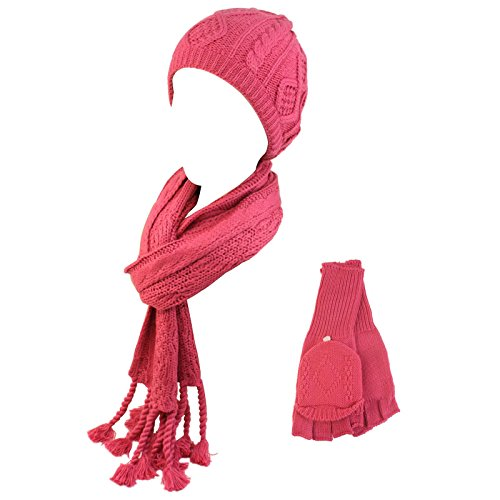 Ladies 3Pc Winter Soft Knit Beanie Hat Long Scarf Flip Cover Gloves Set Pink S/M front-26932