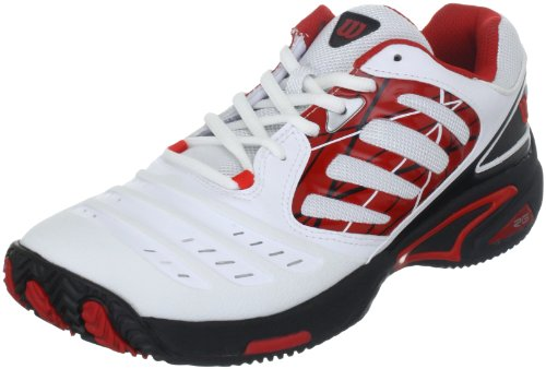 Wilson Tour Vision II Mens Tennis Shoes, Size- 9.5 UK, Color- White/Black/Red