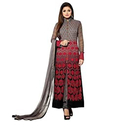 Azy Fabrics Women's Georgette Long Anarkali Unstitched Salwar Suit Dress Material(maroon_Full_FO_Grey)