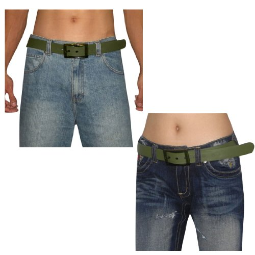 Unisex, Thick, Plastic Belt with Matching Detachable Buckle Dark Green, One Size