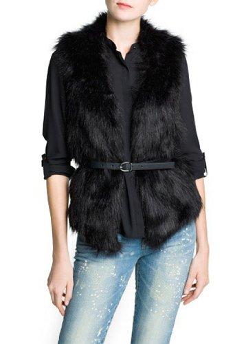 ELLAZHU Women Casual Artificial Fur Sleeveless Bodycon Waistcoat Belted Vest NL50 M
