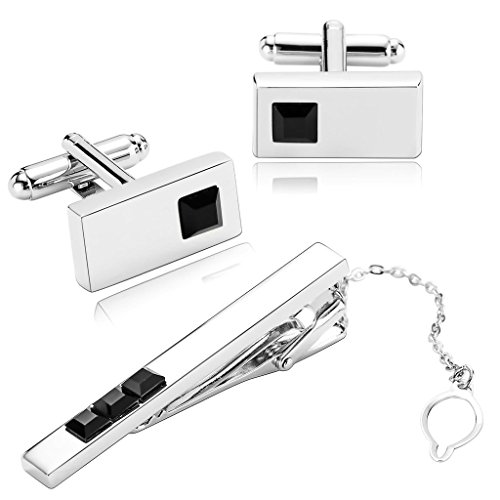 amdxd-jewelry-stainless-steel-men-tie-clip-and-cufflink-set-black-crystal-series-rectangle-cuff-link