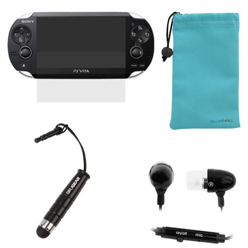 Birugear Clear Lcd Screen Protector Film Guard + Black Mini Ultra Responsive Stylus With 3.5Mm Adapter Plug + Black 3.5Mm Metal Stereo Headset Handsfree Soft Gel Earbud With Microphone For Sony Psp Vita + Blue Microfiber Pouch Case