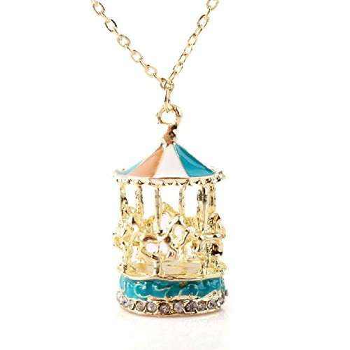 Lady Girl Gold Plated Enamel Rhinestone Colorful Carousel Roundabout Necklace