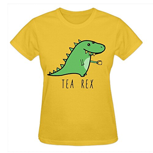 Firebo Tea Rex Imaginext Dinosaur Short Sleeve O Neck Tee Shirts For Women Yellow