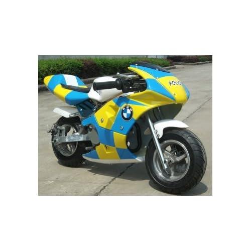 pocket rocket mini moto 50cc police bike brand new ebay. Black Bedroom Furniture Sets. Home Design Ideas