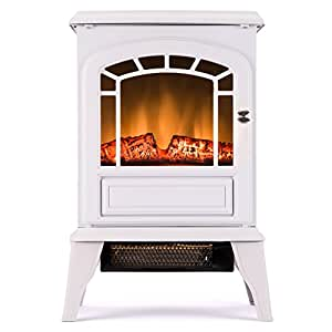 Aspen Free Standing Electric Fireplace Stove 23 Inch White Portable Electric