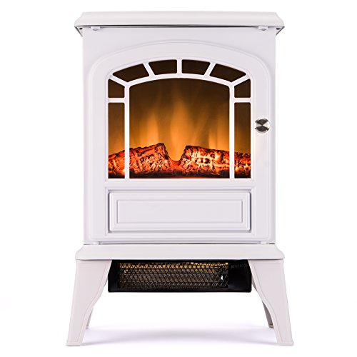 Aspen Free Standing Electric Fireplace Stove - 23 Inch White Portable Electric Vintage Fireplace with Realistic Fire and Logs. Adjustable 1500W 400 Square Feet Space Heater Fan (Faux Fireplace Electric Heater compare prices)