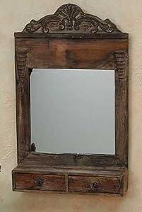 wandspiegel spiegel mit schubladen holz vintage handarbeit. Black Bedroom Furniture Sets. Home Design Ideas