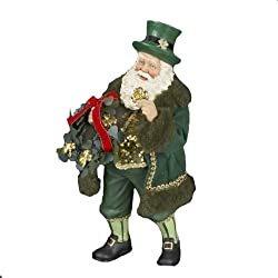 "10"" Fabriché ""Irish Santa with Wreath"" Christmas Figure"