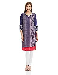 Biba Women's Straight Kurta (ASSORTED(I)11022_Indigo_32)