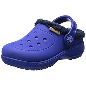 Crocs Cerulean Blue / Navy Kids' Crocs Colorlite Fuzz Lined Clog Shoes