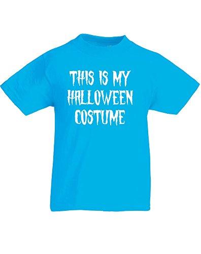 This is my Halloween Costume, Kids Printed T-Shirt - Azure/White 3-4 Years (2)