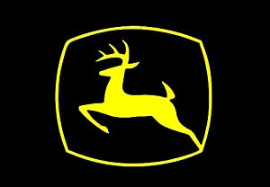 """JOHN DEERE Logo Decal 5.5"""" X 6.25"""" YELLOW VINTAGE STICKER for TRUCK Wall Tractor"""