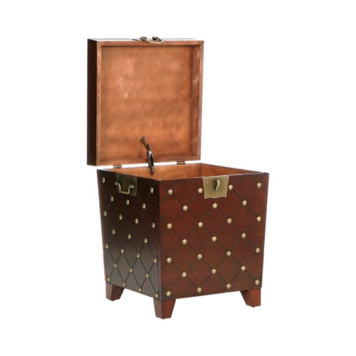 SEI, Espresso Nailhead End Table Trunk