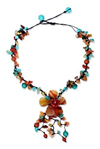 Colorful Agate and Carnelian Y Necklace, 'Summer Flower'
