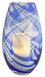 Pacific Accents By Flipo Soho Swirled Glass Hurricane And Flameless Candle Navy Blue FlaSwihurrNbl