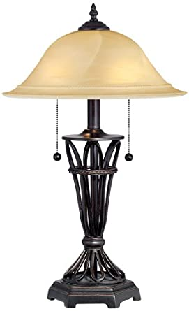 Ivory Glass Shade Iron Cage Table Lamp