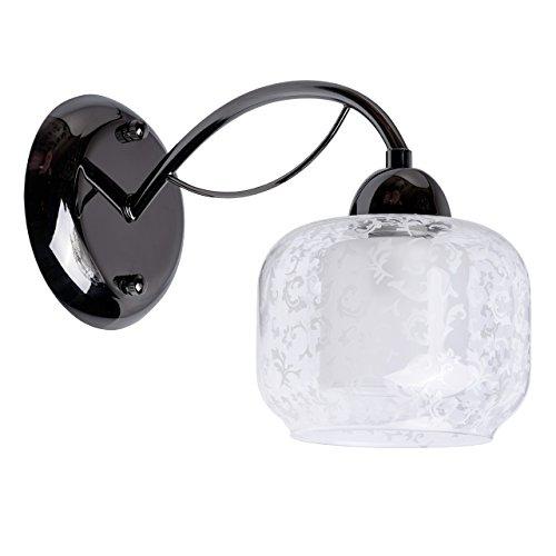 Applique style classique, moderne, armature en métal couleur noir, plafonnier en verre, 1 ampoule non-incl.1 x 60W E27 230V