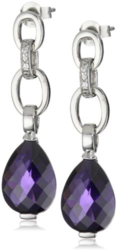 Giorgio Martello Sterling Silver Rhodium Plated Cubic Zirconium Drop Earrings