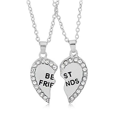 Gioielli in argento, da donna, 2 in lega con strass BBF Best Friends Forever-Collana con ciondolo a forma di cuore spezzato divisibile Friendship Gift
