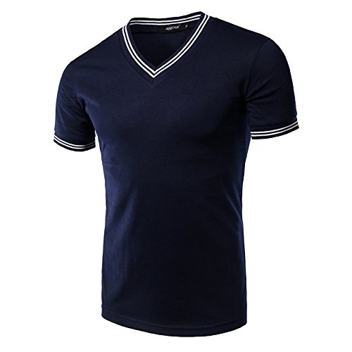 What Lees Mens Basic Slim Fit Cotton V-Neck Short Sleeve Casual T-Shirt Top B019-blue-XL (Louis Vuitton Cap compare prices)