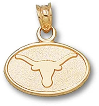 Texas Longhorns Oval Longhorn 3 8 Pendant - 14KT Gold Jewelry by Logo Art