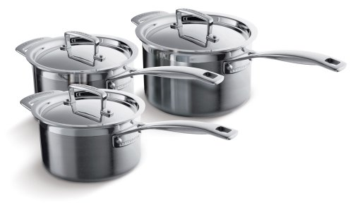 Le Creuset 3-Ply Stainless Steel 3 Piece Saucepan Set
