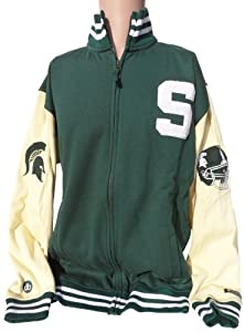 NCAA Michigan State Spartans Mens Varsity LetterMens Jacket, Green White by Donegal Bay
