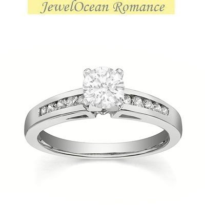 0.58 Carat Discount Engagement Ring with Round cut Diamond on 14K White gold