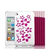 EASYi - White & Pink Flowers Silicone Skin Case Cover for Apple iPod Touch 4th Generation 8GB, 32GB, 64GB + Screen Protector Kit & Touch 4G Pink Sock