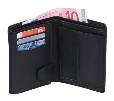 Portefeuille OTARIO, cuir véritable, noir 10x9x1,5cm