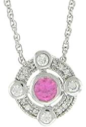 Sterling Silver Round Pink Cubic Zirconia Circle Pendant Necklace 18 Inches Silver Chain SPJ