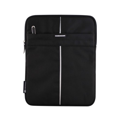 CaseCrown Symmetric Nylon Sleeve Jacket (Black with Silver Lining) for Apple iPad 2 WiFi/3G 16GB, 32GB, 64GB (Newest Version)