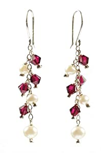 Sterling Silver White Freshwater Cultured Pearl and Garnet Crystallized Swarovski Elements Bicone Cluster Drop Earrings
