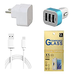 13Tech 1.0 Amp USB Charger+3 mtr Copper (Data Transfer+Charging) Cable +3 Jack Car Charger+Tempered Glass for Lava Iris X1